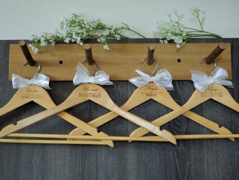 Personalised Wooden Bridal Wedding Hangers Set of 7 with Bow - Heart